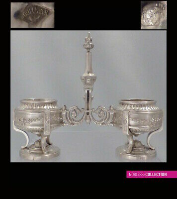 BOULENGER : ANTIQUE 1880s FRENCH STERLING SILVER SALT CELLARS Louis XVI style