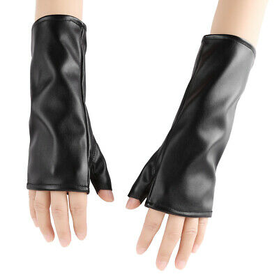 2X Women Ladies PU Leather Half Fingerless Thumb Hole Wrist Length Short Gloves