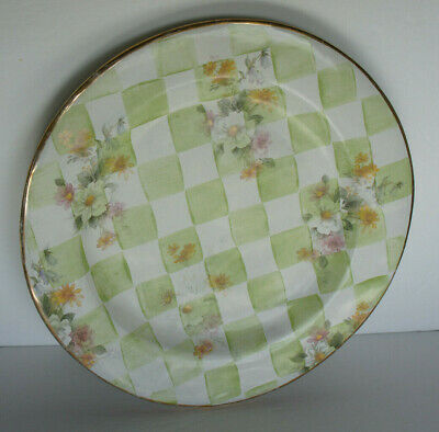 "Mackenzie Childs 1995 Wedding Sweet Pea Green Check GOLD Edge 12"" Dinner Plate 2"