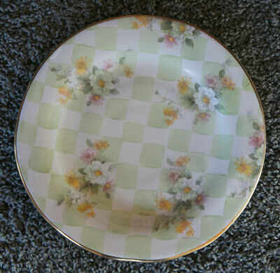 "Mackenzie Childs 1995 Wedding Sweet Pea Green Check GOLD Edge 12"" Dinner Plate 3"