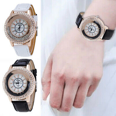 Casual Women Rhinestone Wristwatches Crystal Diamante PU Leather Analog Quartz