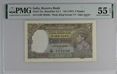British India P-18b; 5 Rupees; ND(1943); PMG Graded 55 EPQ About Uncirculated