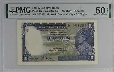 INDIA 10 Rupees ND(1937) P19a PMG 50 EPQ About Uncirculated King George VI