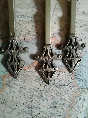 X3 Vintage Cast Iron Curtain Rod End Finials  Victorian, Architectural steampunp