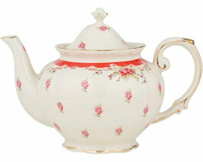 Gracie China Vintage Red Rose Porcelain 5-Cup Teapot (5-Cup Red)