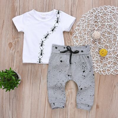 Kids Baby Outfits Clothes Trousers T-shirt Tops Toddler Outfits Sets Dot Pants