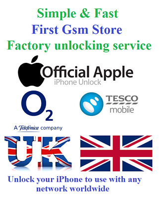 Factory unlocking O2 Tesco Unlock iPhone 11 XR XS X 8 8 Plus 7 6s 6 SE 5s 5c 5 +