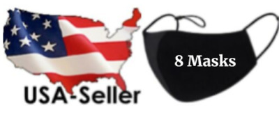 7 Pack Face Mask Black Washable Reusable Cotton - Three Layer - Ships from USA