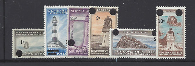 New Zealand Oy37-42 Mnh Lighthouses, Life Insurance, Surcharges