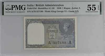 INDIA / BRITISH ADMINISTRATION P# 25d 1940 1 RUPEE PMG 55 EPQ About UNCIRCULATED
