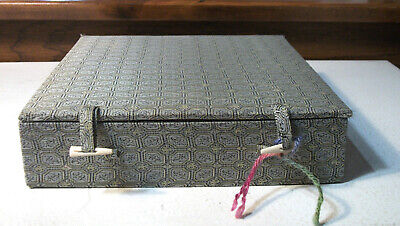 Cloth Covered Chinese Square Box - Silk Lining 8 1/2 by 8 1/2 by 2 inches