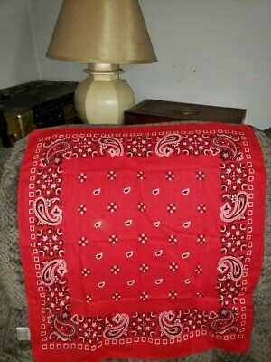 Vintage Antique Red Cotton BIKER BANDANA HANDKERCHIEF Paisley