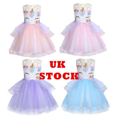 UK Girls Fairy Dress Princess Cosplay Skirt Birthday Net Outfit Chiffon Costume