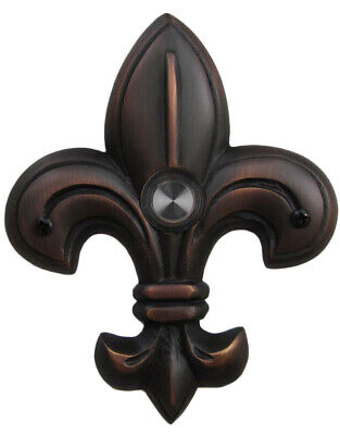Decorative Doorbell Medium Fleur De Lis Oil Rubbed Bronze Lighted Button