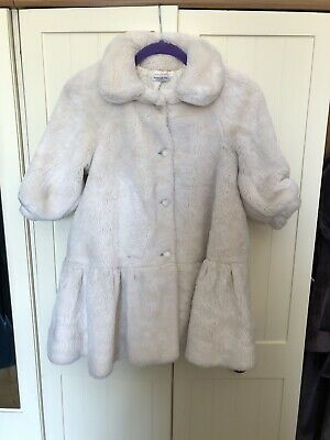 PAPERMOON Italy Girl's Ivory Faux Fur 3/4 Sleeve Swing Coat Age 7-8 Years