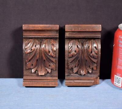 "*Pair of 5"" French Antique Corbels/Pillars/Brackets in Walnut Wood Salvage"