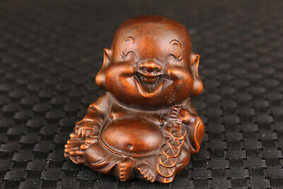 unique Chinese old boxwood hand carved smile Buddha statue figure netsuke