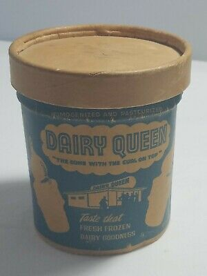 Vintage DAIRY QUEEN Ice Cream Pint Container With LID Advertising