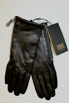 NEW Frye Touch Technology Black Leather Side Zip Driving Gloves XL