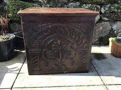 Very Nice Antique Hardwood Hand Carved Coal Box With Metal Removable Liner Heavy