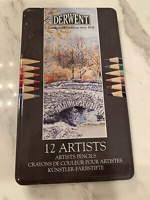 Derwent 12 Pack Artist Art Color Drawing Sketching Pencils in Storage Tin New
