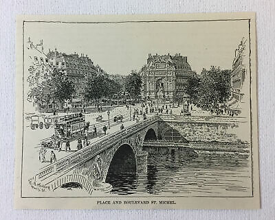 1894 magazine engraving ~ BOULEVARD ST MICHEL, Paris, France