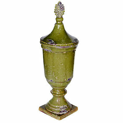 "Antiqued Ceramic Decorative Lidded Jar 7.5""x22"" - 66999"
