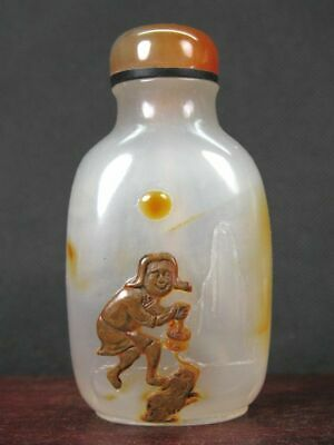 """Chinese """"Liu Hai"""" Toad Carved Natural Agate Snuff Bottle"""