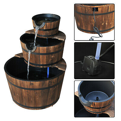 3 Tier Wooden Barrel Water Pump Cascading Fountain Garden Feature Decor Ornament