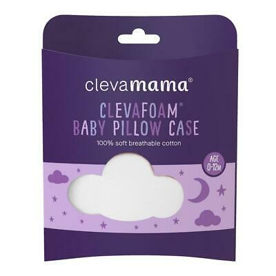 ClevaMama Replacement Baby Pillow Case Cover (White) To Fit 40x23cm Pillow