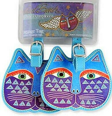 NEW Laurel Burch luggage tags set of 2 (pair) - Blue Cat  Face LB5075