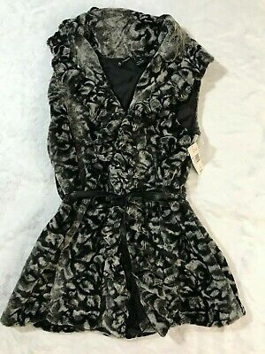 NWT New Directions Womens Faux Fur Animal Print Vest Black Gray Belted Medium