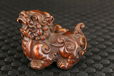 Blessing chinese old wood fortune kirin figure statue tibet collectable art