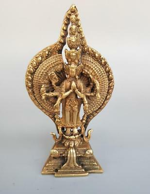 Exquisite pure brass eight arm Thousand-Hand Kwan-yin Small statue z961