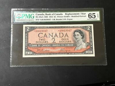 1954 Canada $2 Dollar Banknote BC-38aA RB3 PMG 65 EPQ Lot#BD24 Replacement/Star