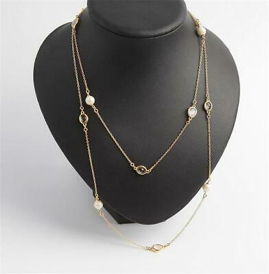 Kate Spade New York Gold Tone Imitation Pearl & Crystal Long Scatter Necklace