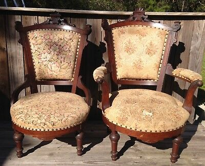 Pair Antique Victorian 1800's Charles Eastlake Captain & Mate Chairs (2) Walnut