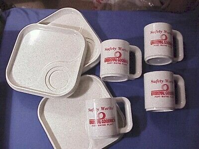 UNIROYAL-GOODRICH FORT WAYNE INDIANA PLANT~SNACK SET~+PINBACKS +Coaster