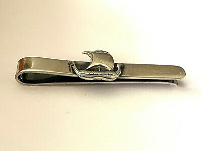 Vintage COF Carl Ove Frydensberg Tie Bar Viking Ship Sterling Silver 925 Patina