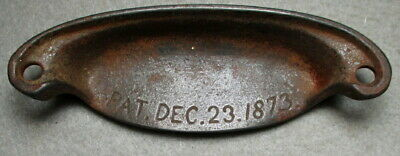 Genuine Cast Iron Victorian Bin/Drawer Pull With a Patent Date of Dec. 23, 1873