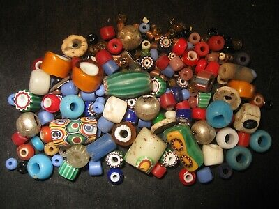 Antique African Trade Beads, 1800's Italian Glass Collectible, Venetian Etc. #A5