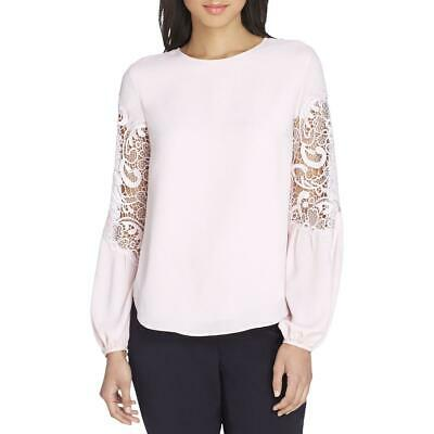 Tahari ASL Womens Pink Lace Inset Office Wear To Work Blouse Top S BHFO 9303