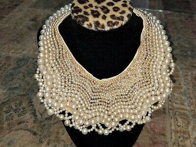 Vintage Made in Japan Woman's Faux Pearl Beaded Collar Necklace Elegant As Is
