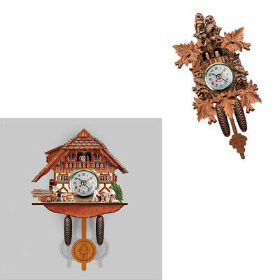 Blesiya 2x Vintage  Wooden Cuckoo Clock Wall Clock Battery Powered Home Decor