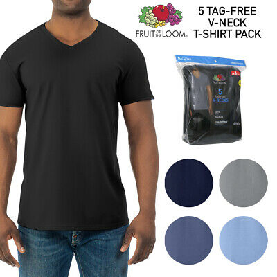 Fruit of The Loom Men's 5 Pack Dual Defense Tag-Free Soft V Neck T Shirts