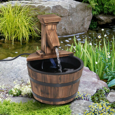 Wooden Barrel Pump Electric Water Fountain Deck Garden Feature Ornament Decor