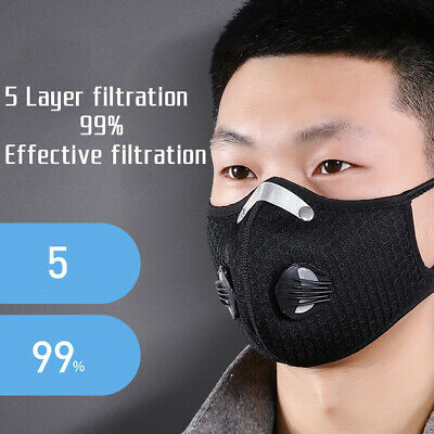 1pc Reusable Washable Anti-PM2.5 Anti-Dust Face Cover Mouth Cushion W/Valve