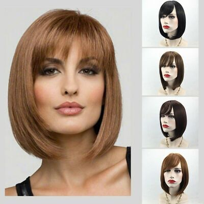 "Women Lady 12"" Straight Hair Wig Short Black Brown Blonde Bob Style Party Wig"