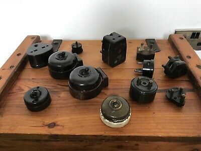 A Large Collection Of Vintage Antique Bakelite / Brass Light Switches Plugs Etc