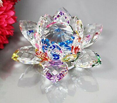 CRYSTAL LOTUS FLOWER ORNAMENT LARGE CRYSTOCRAFT HOME DECOR_ ALL COLOURS (Multi)